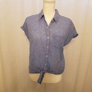 Old Navy Blue Short Sleeve Crop Top w/Tie Sz S